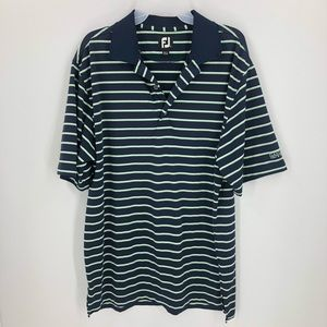 FootJoy Golf Polo Golf Shirt Navy & Green Stripes